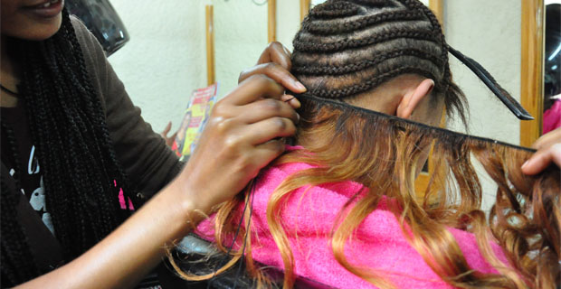 Make up trade human hair business thrives hair is braided into cornrows before extensions are sewn in which human hair extensions can cost up to 7000 br pmusecretfo Choice Image
